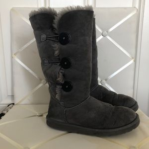 Grey Triple Bailey Button Ugg Boots